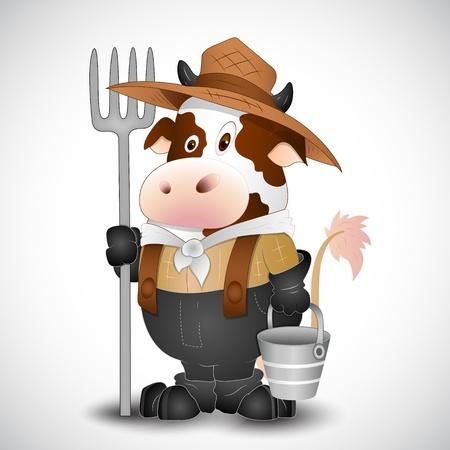 vaca caricatura: Lechero de la vaca lechera Vector