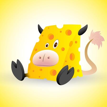 Cheese Cow Cartoon Vector Vector