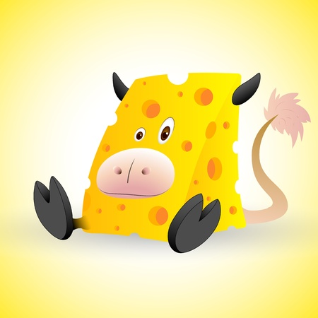 dairy product: Cheese Cow Cartoon Vector Illustration
