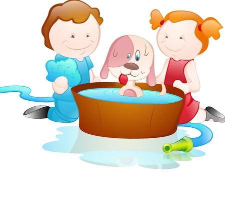 Cartoon Kids Bathing Dog Vector