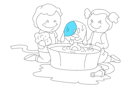 Sketch of Kids Playing with Dog Vector