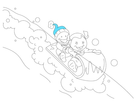 Kids Sliding on the Snow Stock Vector - 13052167