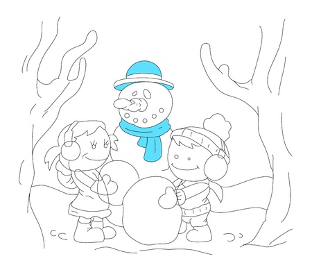Art of Cartoon Kids with Snowman Vector