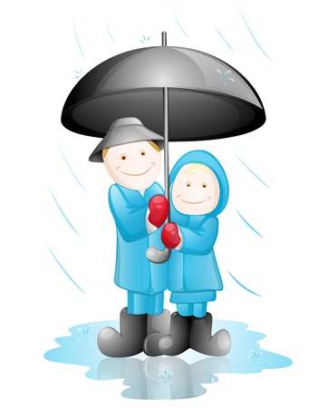 winter garden: Happy Couple in the Rain Illustration