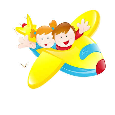 happy kids playing: Kids Flying Plane