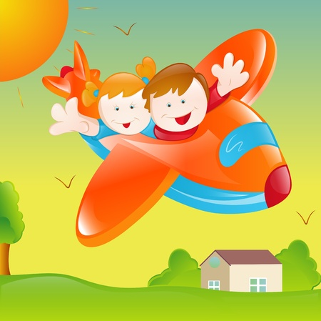 Happy Kids in Plane Vector