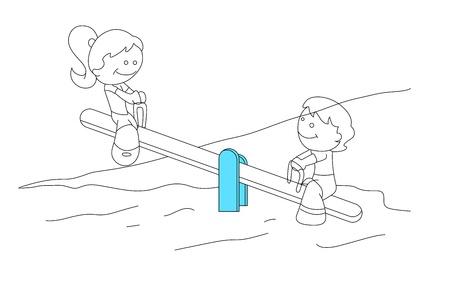 niños jugando caricatura: Niños lindo que juega Vectores