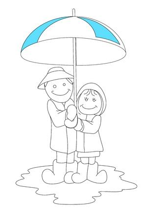 couple in rain: Art of Cartoon Couple in Rain