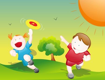 winter fun: Cartoon Kinderen Spelen