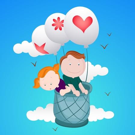 Los niños que vuelan en globo de aire