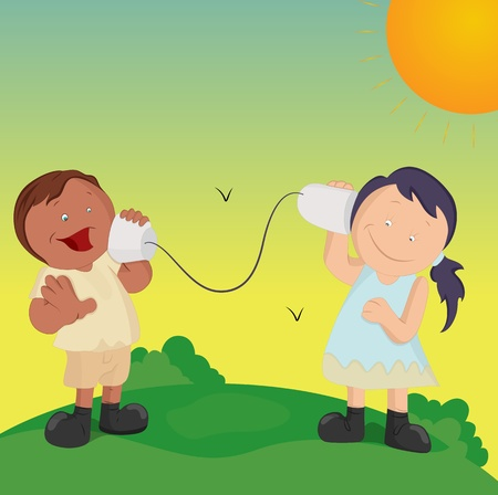 winter garden: Happy Cartoon Kids Playing