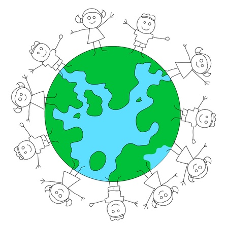 Kids Playing on Earth Stock Vector - 13052197