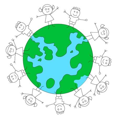 educativo: Niños jugando en la Tierra