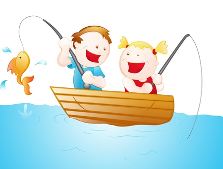 Cartoon Fisher Kids Vector