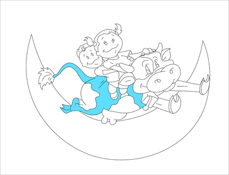 Kids on the Moon Shape Vector