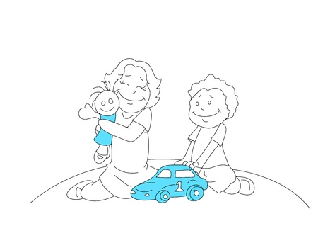 Drawing of Kids Playing with Toys Vector