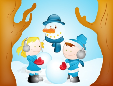 Kids Playing with Snowman Vector