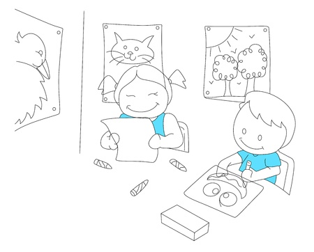 Sketch of Reading Kids Vector