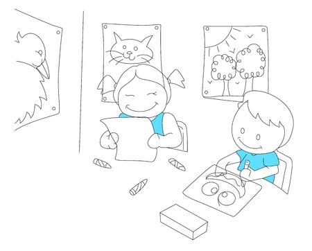 Sketch of Reading Kids Vector