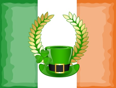 Leprechaun Hat on Laurel Wreath Banner Vector
