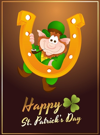 Happy Leprechaun Greeting Card Vector
