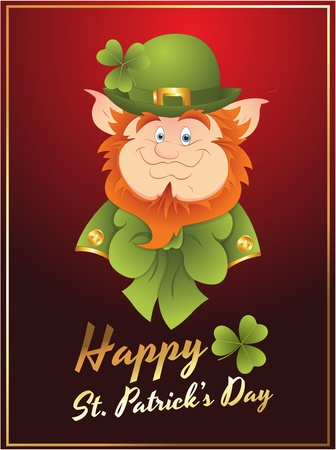 Patricks Day Leprechaun Card Vector