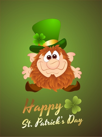 Illustration of Leprechaun Card Vector