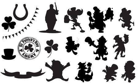clover banners: Patricks Day Character Shapes Illustration