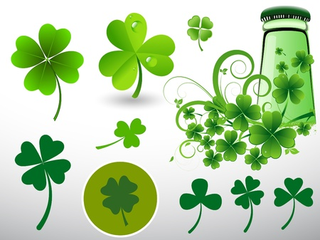 Illustration of Shamrock and Beer Bottle Stock Vector - 13094351