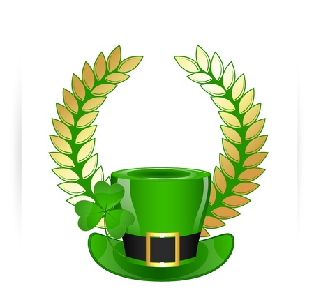 Leprechaun Hat with Golden Laurel Wreath Vector