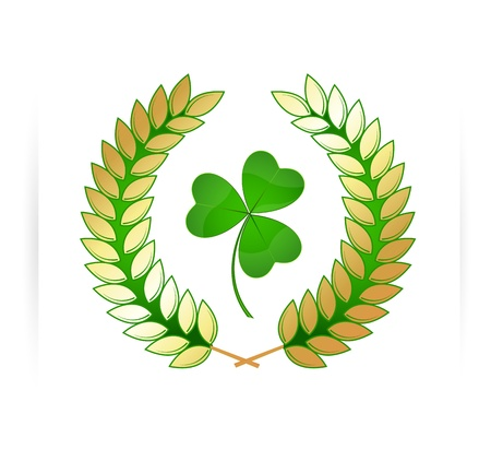 Laurel Wreath Shamrock Banner Vector