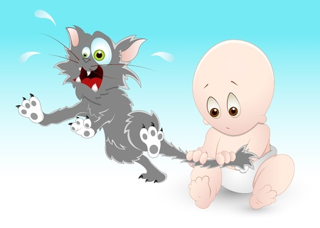 Naughty Baby with Pet Cat Vector