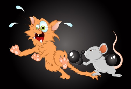 running: Mouse Fighting with Cat Vector Illustration