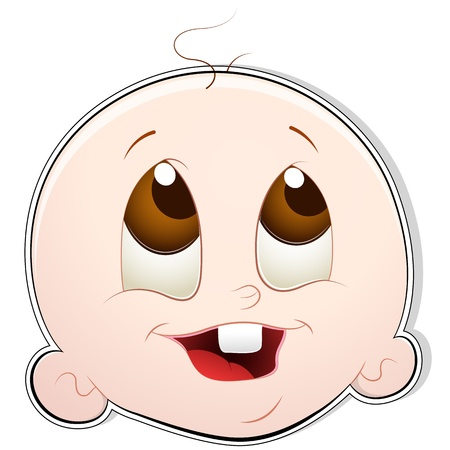 naughty girl: Cute Baby Face Illustration