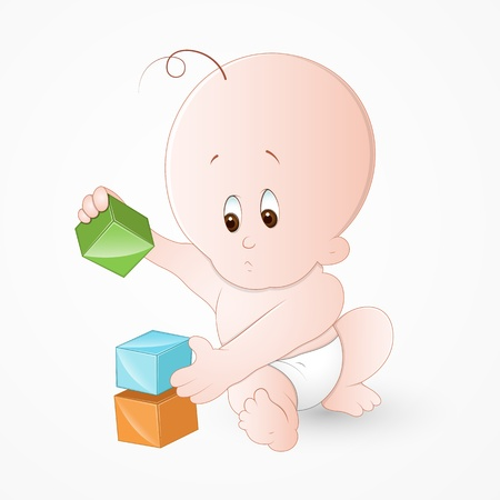 enfant qui joue: Enfant jouant avec des blocs de b�b� Illustration
