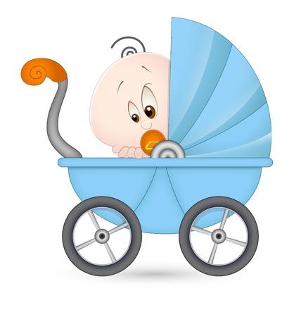 perambulator: Cute Baby in Baby Stroller Illustration
