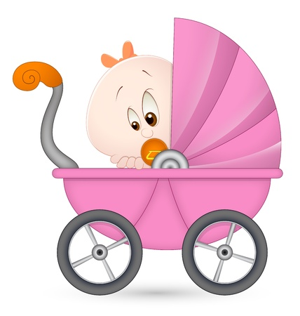 Baby Girl in Baby Carriage Vector