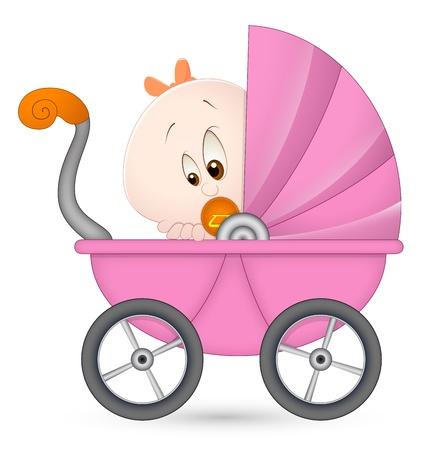 Niña en carro de bebé Ilustración de vector