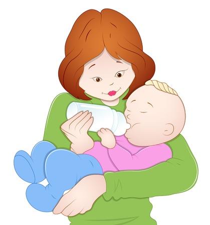 bottle feeding: Beb� con la madre