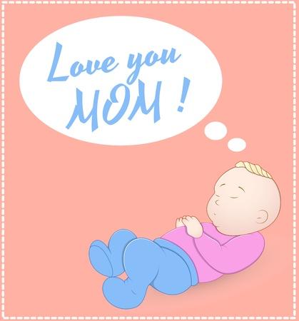 girl lying studio: Cute Baby Card Illustration