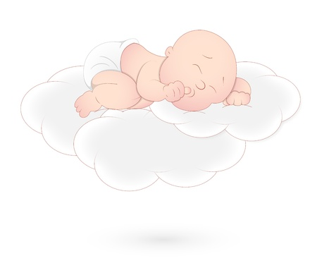 Baby Sleeping on Cloud Vector