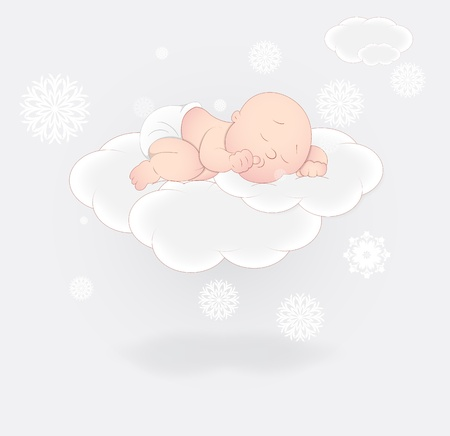 Cute Baby Sleeping on Cloud Vector
