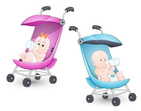 Śliczne Dzieci w wózek