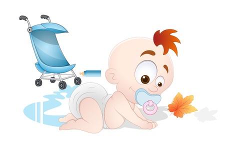 bebe gateando: Reproducción de bebé Vectores
