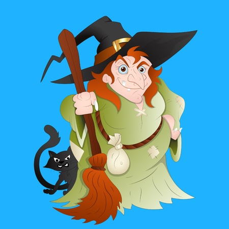 besom: Witch Vector Illustration