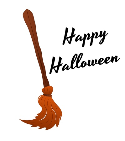 broomstick: Witch Broomstick Vector Illustration