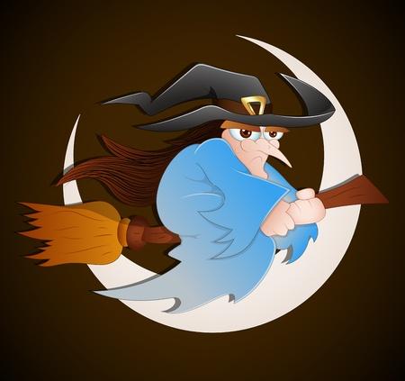 strega che vola: Cartoon Witch Volare Vettoriali