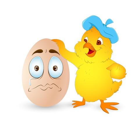 ojos caricatura: Pascua de pollo con huevo de dibujos animados