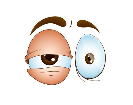 sleepily: Emotional Cartoon Eye Illustration