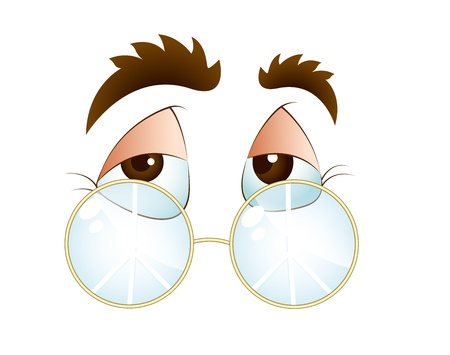 test glass: Cartoon Eye with Glasses Illustration